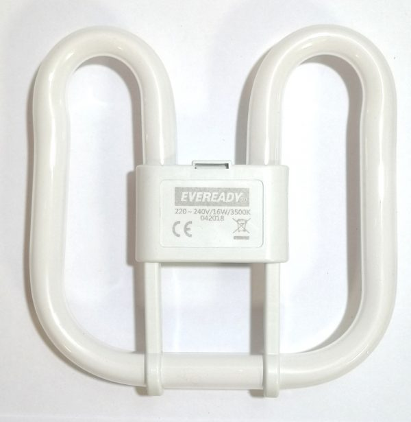 An energy saving fluorescent 2D 16W with a warm white colour tone 835 3500K