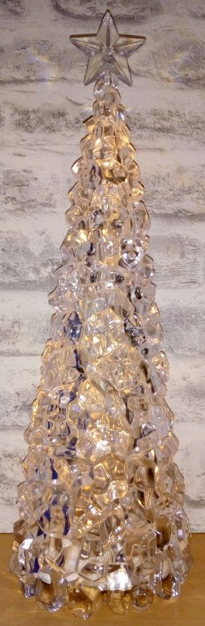 An Ice Tree with 16 warm white LED bulbs which is 42cm tall and battery operated