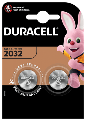 Twin pack of Duracell CR2032 lithium batteries of Duracell CR2032 lithium batteries