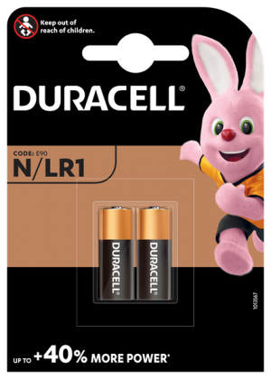 A twin pack of Duracell LR1 1.5 volt alkaline batteries.