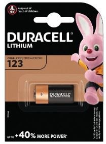 A single pack, Duracell CR123 Lithium battery