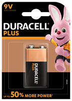 One, PP3, 9 volt Duracell Power Plus alkaline battery