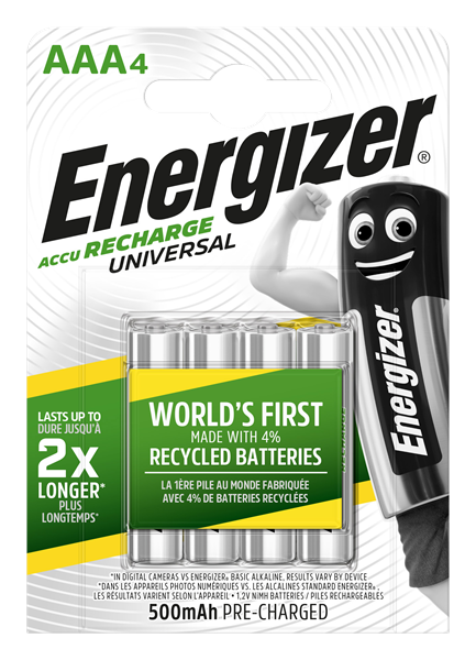 Four pack of Energizer AAA 500mAh rechargable batteries