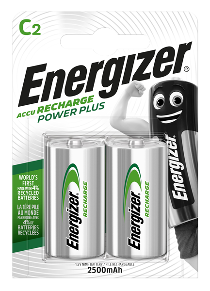 Pack of two Energizer C 2500mAh Rechargable Power Plus batteries