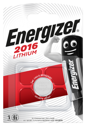 A single pack, Energizer CR2016 lithium cell battery 3 volt