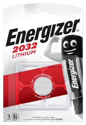 A single pack, Energizer CR2032 lithium cell battery 3 volt