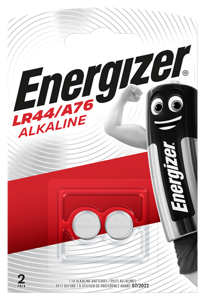 A twin pack, Energizer LR44 A76 coin cell batteries