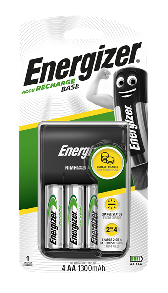 Energizer battery charger with four AA 1300mAh rechargable batteries