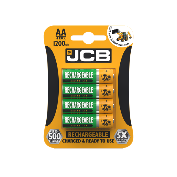 Four pack of JCB AA 1200mAh Rechargeable batteries