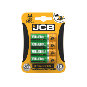 Four pack of JCB AA 2400mAh Rechargeable batteries