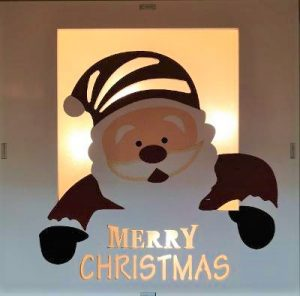 Jolly Santa Claus Box decoration with LED lights battery operated