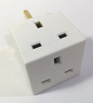 A white 2 Way Adaptor plug to enable additional sockets.