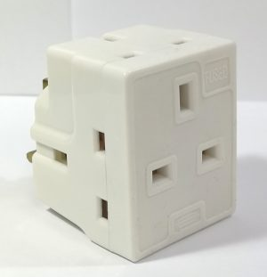 This white 3 Way 13 Amp Fused Adaptor Plug enables you to use three plugs from one socket