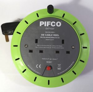 An extension reel with 2 gang/sockets and 5 Metres of cable. Reset button and wind up knob enables tidy storage