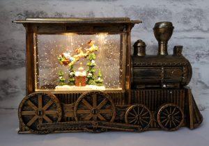 An Antique Gold Musical Train, Santa sleigh scene, LED Lights and Glitter Snow
