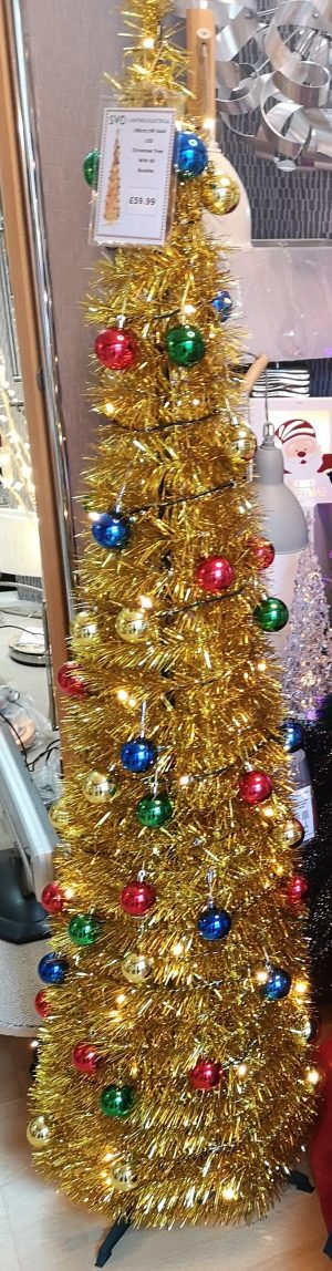 Pop-up Gold tinsel Christmas tree with attached LED Lights and Shiny multi coloured baubles