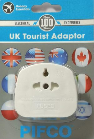 A white UK Universal tourist adaptor with 3 pin UK plug
