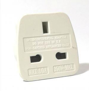 A White plastic with metal pins, UK to USA/Australia travel adaptor