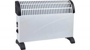A white metal convector heater and black trim. It uses a maximum of 2KW with a choice of 3 heat settings & a turbo fan