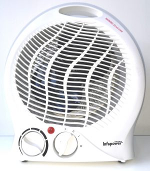 A White body upright fan heater with optional cool or hot air flow settings.