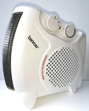 A White fan heater with optional cool or hot air flow settings. Use upright or flat.