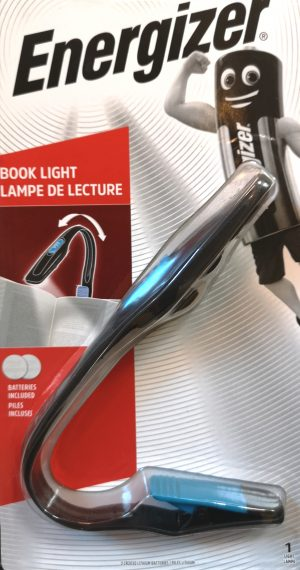 A LED book light with a sturdy clip and powered by battery