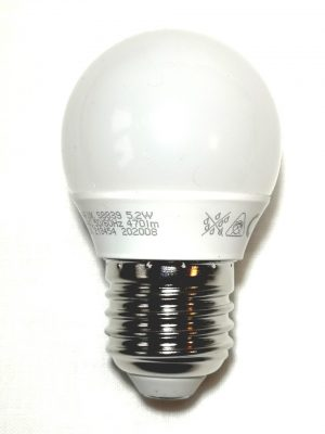 LED golf ball style lightbulb with an Edison screw Cap and opal cover