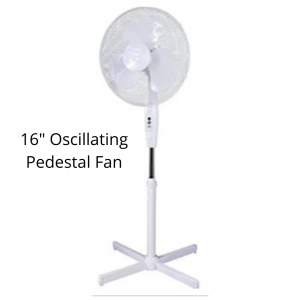 """16"""" Oscillating Pedestal Fan with three speeds In White, suitable for home and office use"""