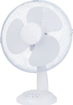 """12"""" desk fan in white with three speed settings, suitable for home and office use"""